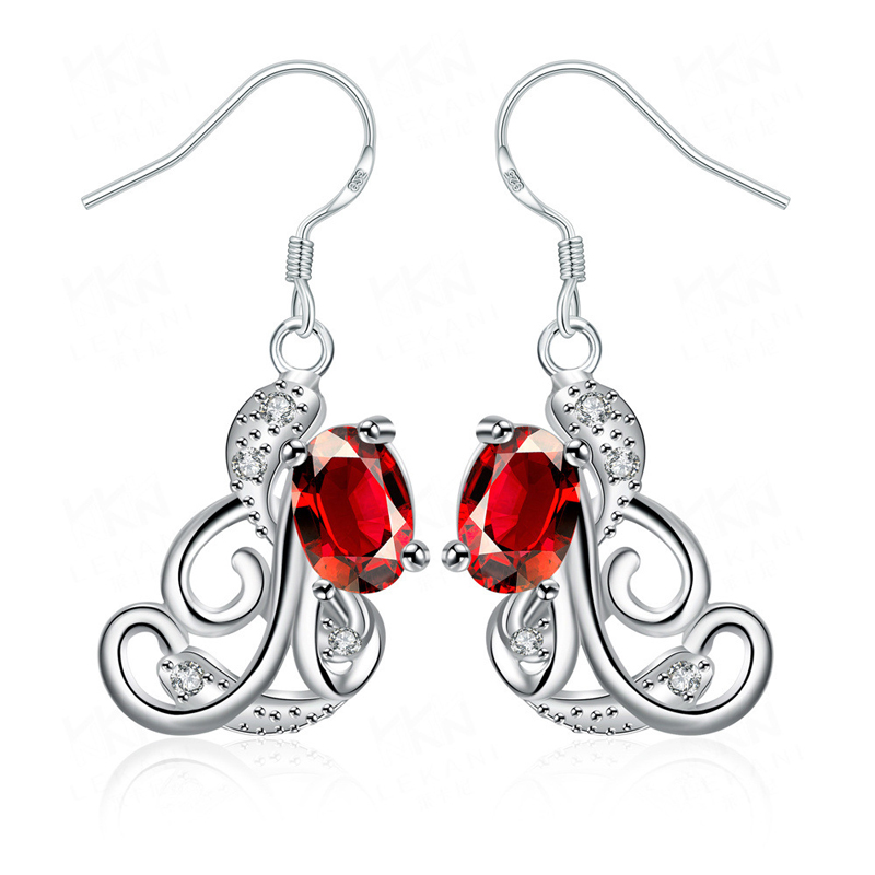925 Sterling Silver Flower Crystal Earrings for Women SPE046