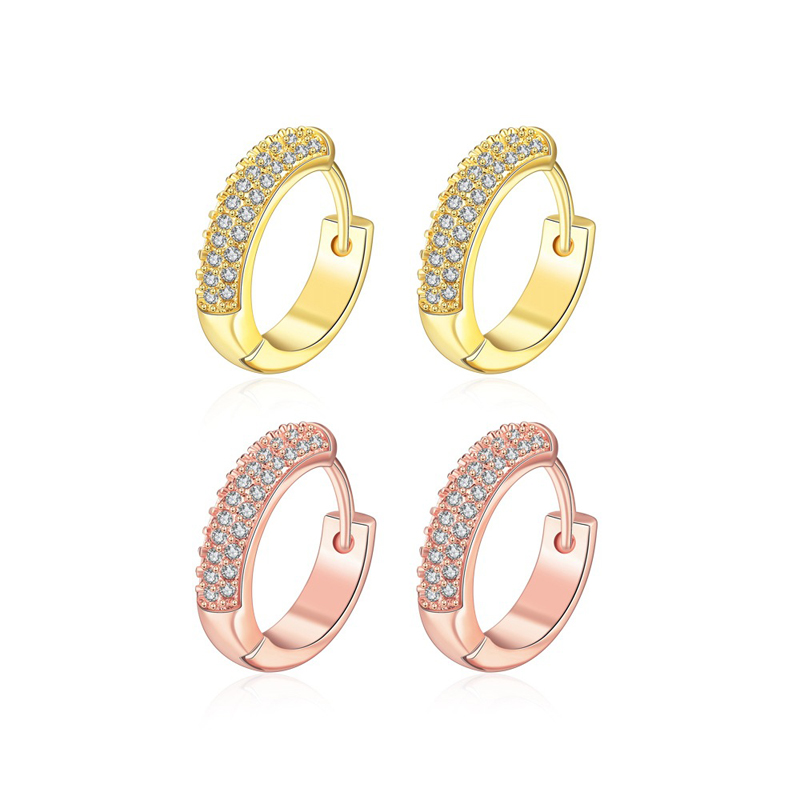 Gold Plated Hoop Earrings For Women, Pave Setting 3 Rows of Brilliant Cut CZ Diamond Earring KZCE038