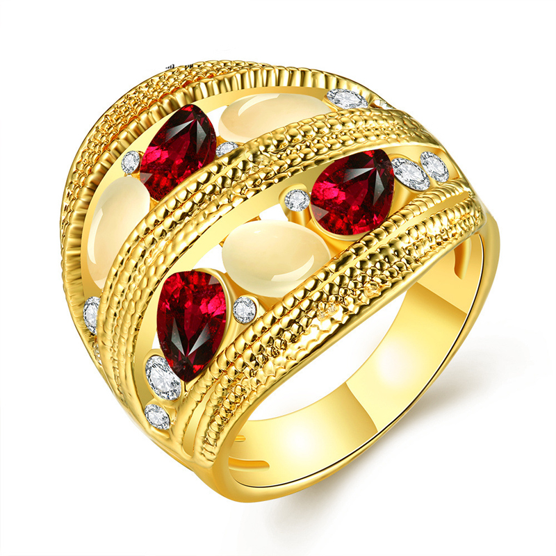 Wedding Ring Geometric Design with Multi Rhinestones Gold Plated Rings