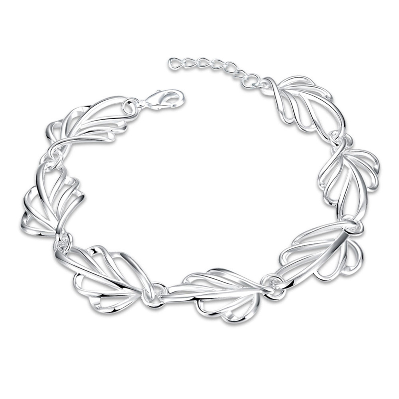 Shiny Silver plated Jewelry European Style Creative Hollow Leaves Bracelets