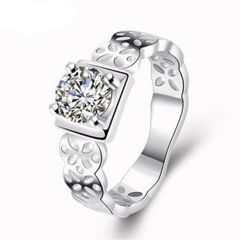Zircon Ladies Ring Hollow Pattern Plant Flower Ring Bohemia Silver Plated & Zirconia Gift