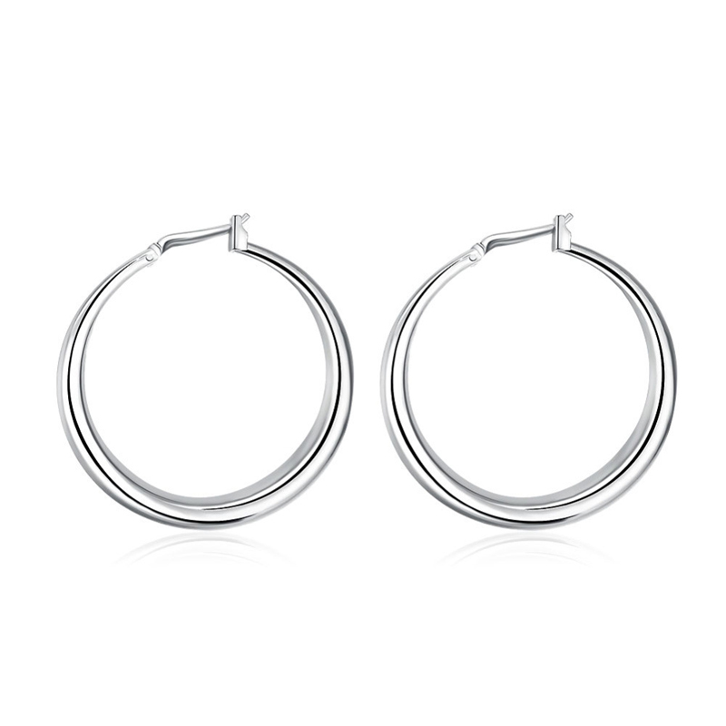Fashion Round Silver Ear Creole Round Stud Earring Trendy Silver Plated Women Girls