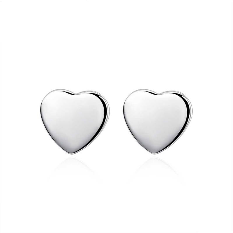 Small Love Heart Stud Earrings Silver Plated Earrings Jewelry for Women Girls