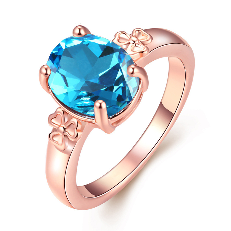 Blue Zirconia Stone Ring Gold Plated Crystal Fashion Imitation Anniversary Jewelry For Women R049