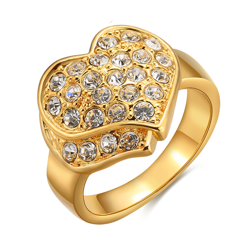 Heart Shape Diamond Inlay Gold plated Ring for Women