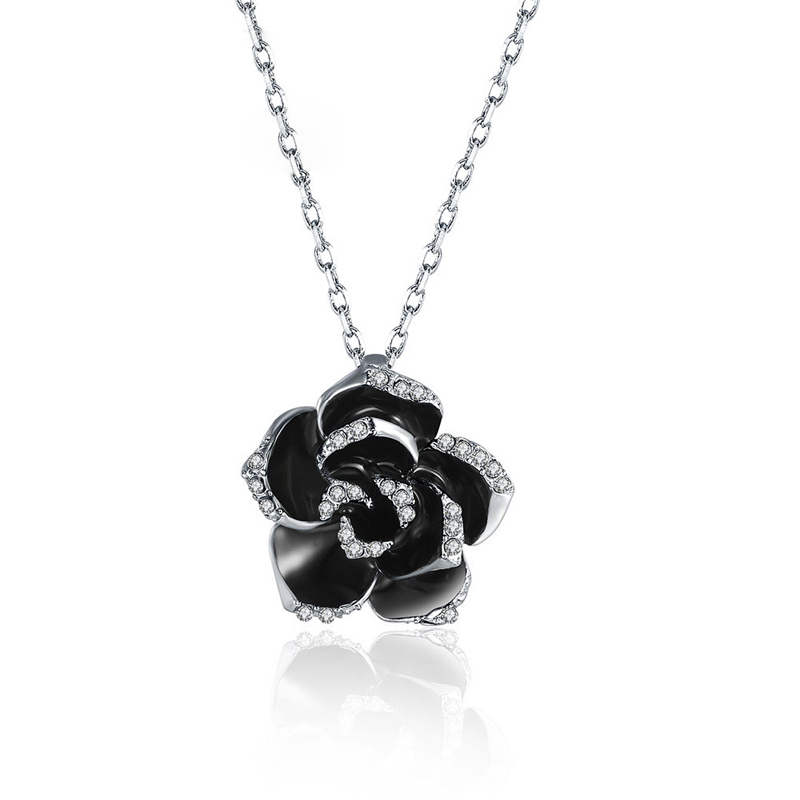 Big Rose Flower Pendant Unique Fashion Jewelry Gold Plated Necklace Rhinestone Crystal Elements