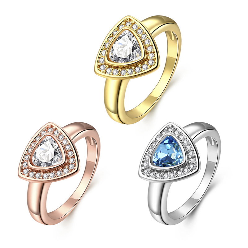 Gold Ring For Women Fashion Bridal Wedding Engagement Heart Love Zircon Rings R744