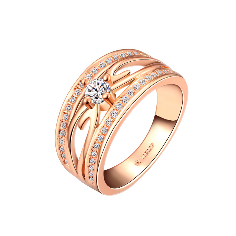 Crystal Ring Gold Plated Austrian Crystals Full Sizes Ring for Women