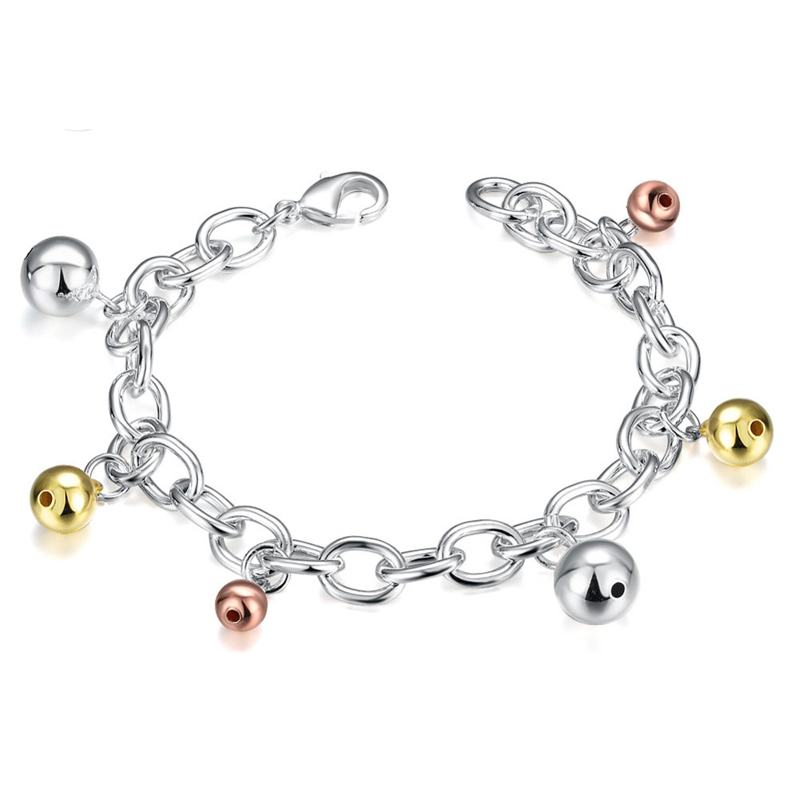Romantic Colorful Balls Charm Silver Plated Link Chain Bracelet For Women Christmas