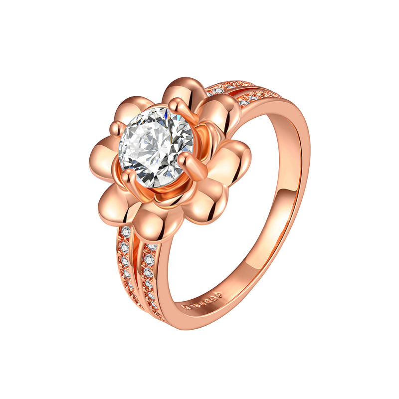 Silver-plated Ring Silver Fashion Jewelry Women Gift Flower Bling CZ Diamond