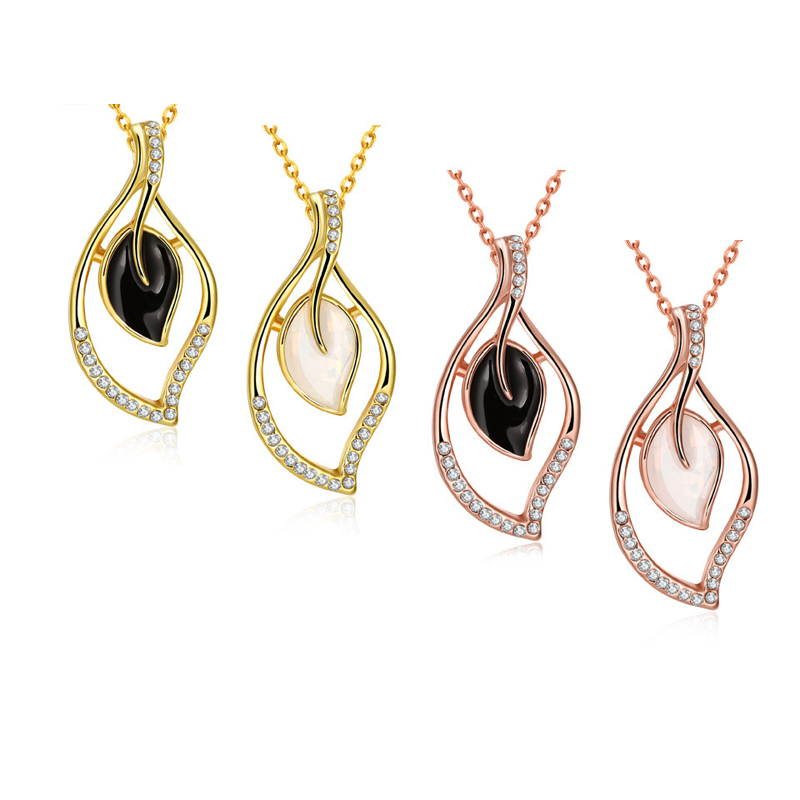 Gold Plated Hollow-out Double Leaves with Black/White Rhinestone Pendant Necklaces