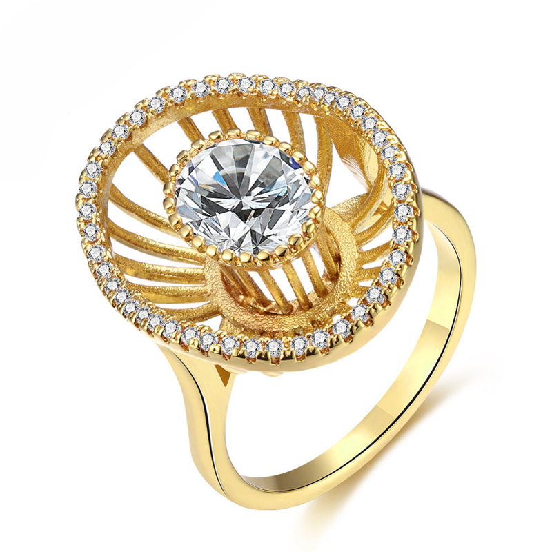 Gold Plated Round Shape Micro Pave Cubic Zircon Finger Ring KZCR421