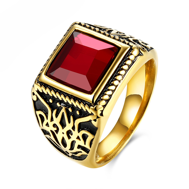 Red Black Natural Stone Square Rings For Men Titanium Steel Gold Plated Rings TGR114