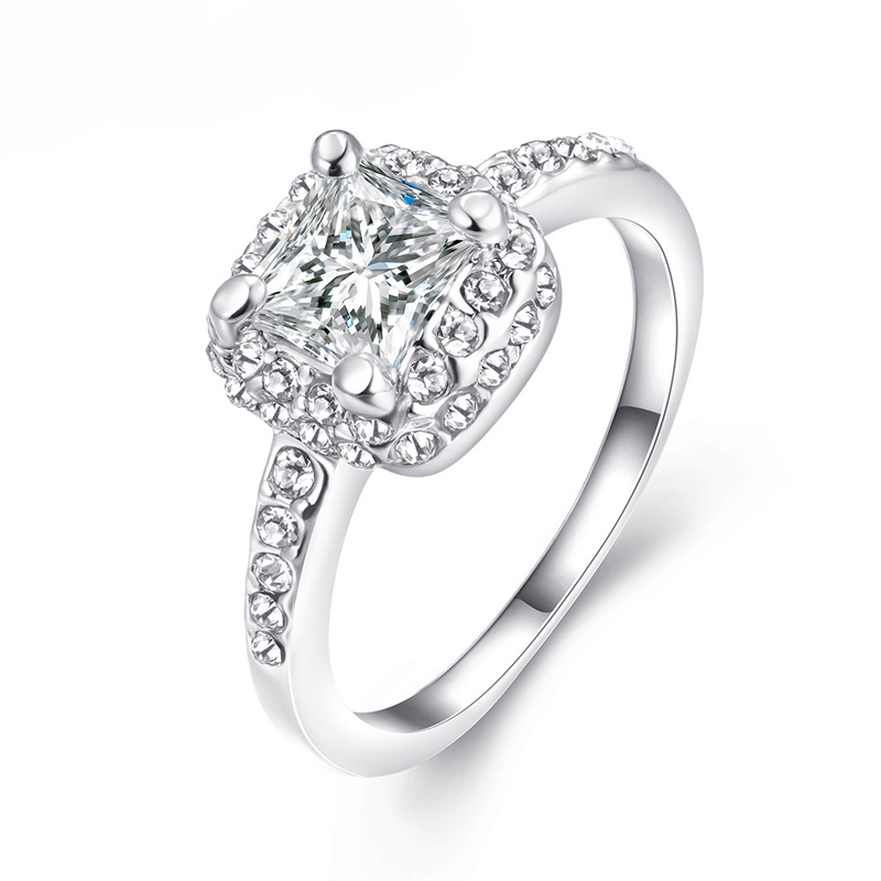 Square Shaped with AAA+ Cubic Zirconia Engagement Ring Jewelry for Women R050