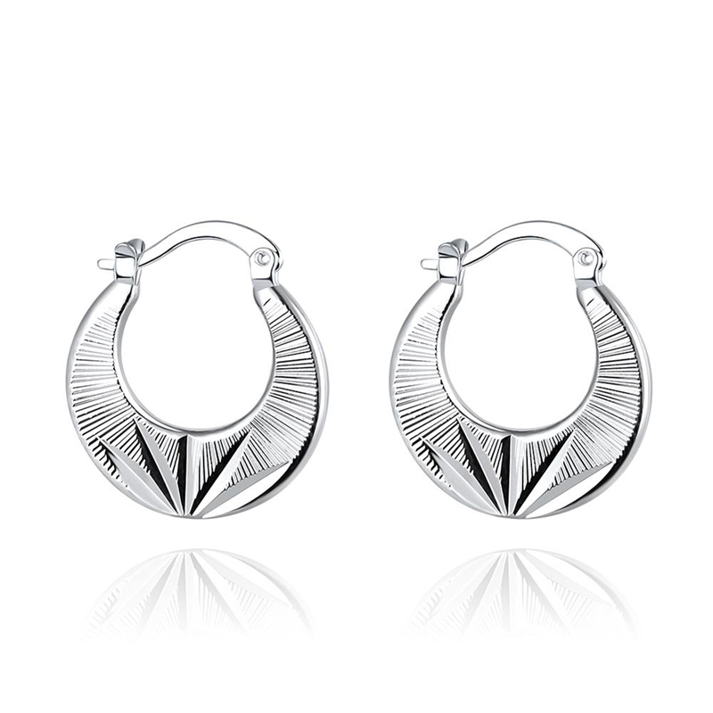 Silver Hoop Earrings Classic European Style Charm Jewelry Fashion Cool Party Accessories E694
