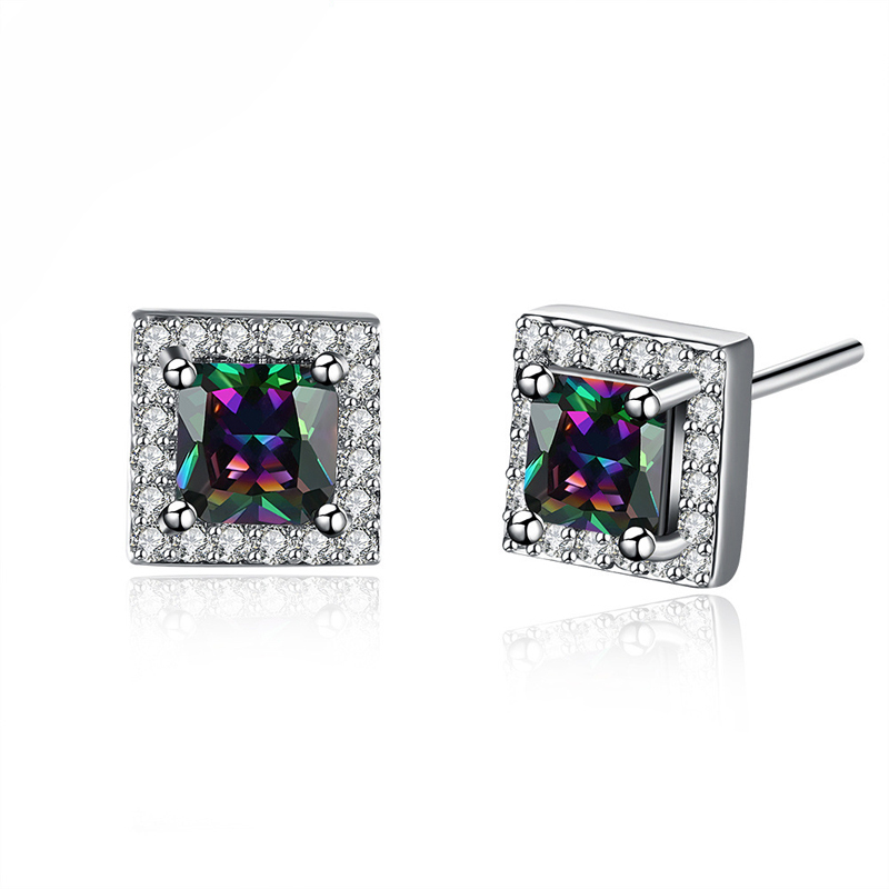 Square Classic Crystal Jewelry Earrings For Women Wedding Zircon Gold Plated Earring