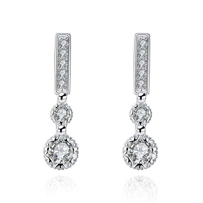 Silver Plated Earrings for Women Wedding Jewelry Bridal Jewelry Zircon Earrings