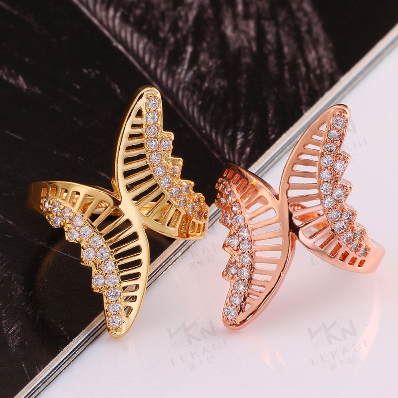 Gold Plated Rings For Women Butterfly Shaped Prong Setting 4 Rows of CZ Diamonds Engagement Ring KZCR026