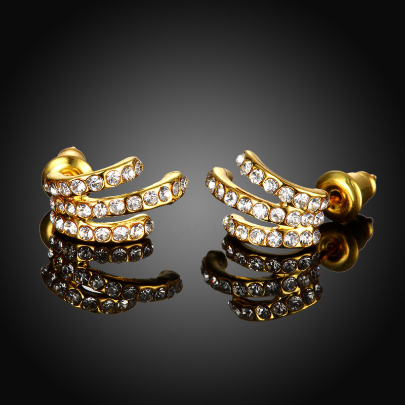 Retro Bright Glazed Oiled Rhinestone Flower Stud Earrings For Women