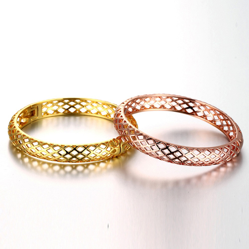 Gold Plated Creative Braided Hollow Alloy Bangle Bracelet Jewelry KZCZ037
