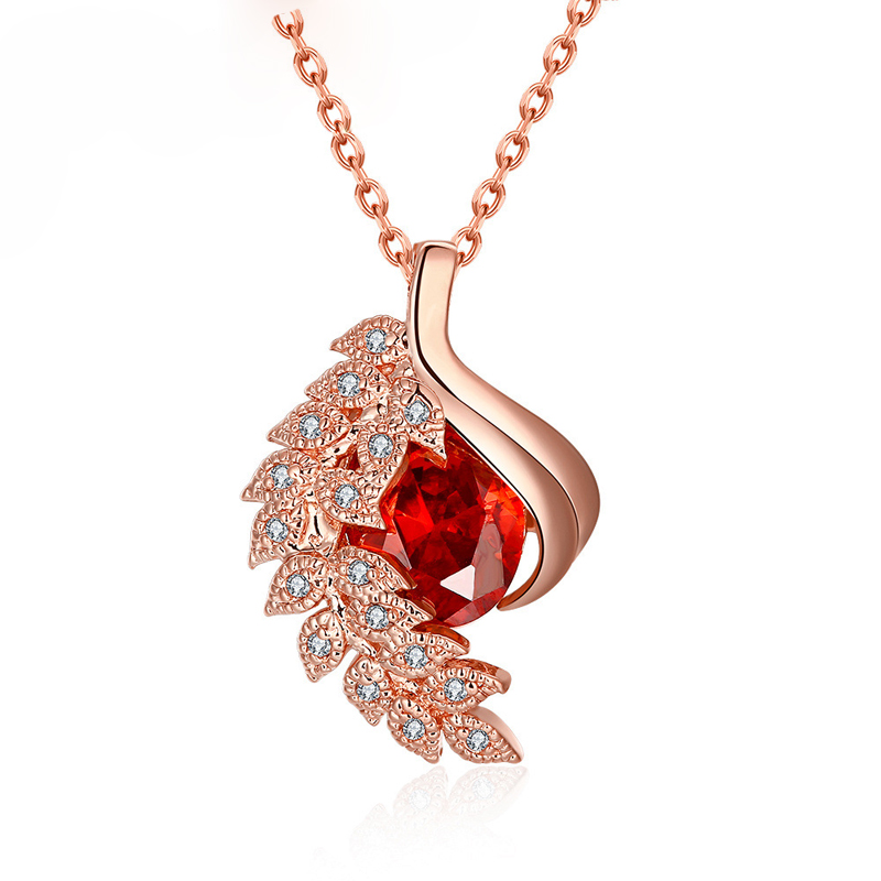 Gold Plated Necklace With Cubic Zircon Romantic Feather Pendant Necklace KZCN130