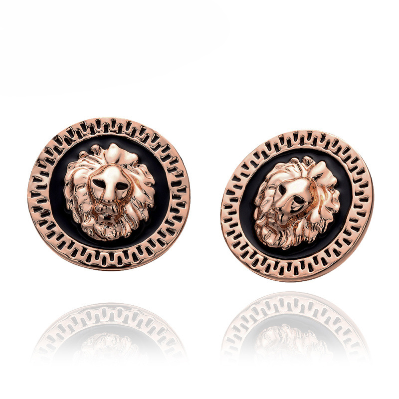 Gold Plated Strong Lion Shape Stud Earring For Women