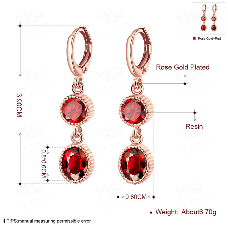 Red Resin Earring Gold Plated Drop Earrings For Women KZCE090