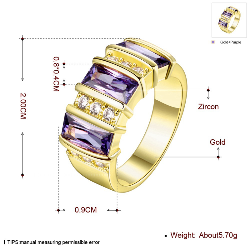 Sweet Purple Cubic Zircon Ring Engagement Wedding Ring for Women Girls KZCR181