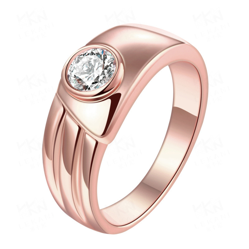 Simple Ring Jewelry Gold Plated with White Zircon Ring KZCR194