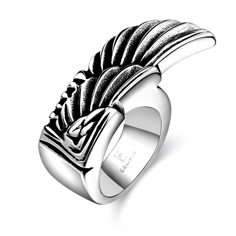 316L Stainless Steel Punk & Hiphop Trend Wing Shape Ring Personality Ring for Men GMYR173
