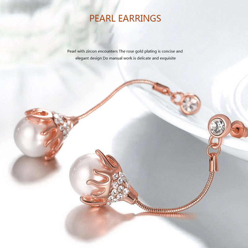 Gold plated Pearl Geometric Drop Earring for Women Girl E1078