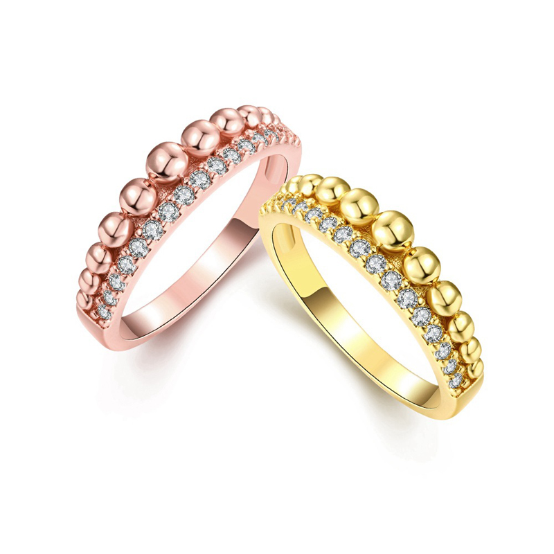 Gold Plated with AAA+ Cubic Zirconia Crystal Bead Rings Jewelry for Women Girls KZCR233