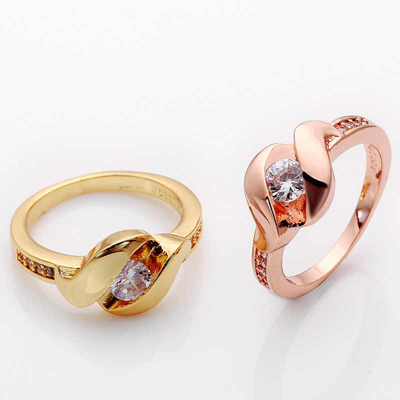 Gold Plated Zircon CZ Diamond Fashion Rings Finger Ring Jewelry R570