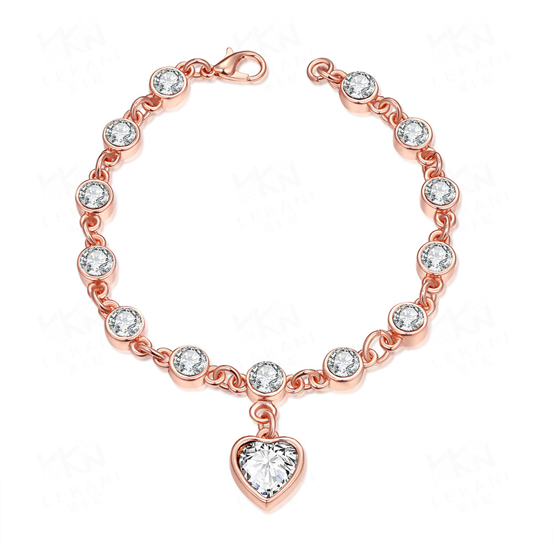 Elegant Rose Gold Plated With Zircon Heart Bracelet For Women AKB001