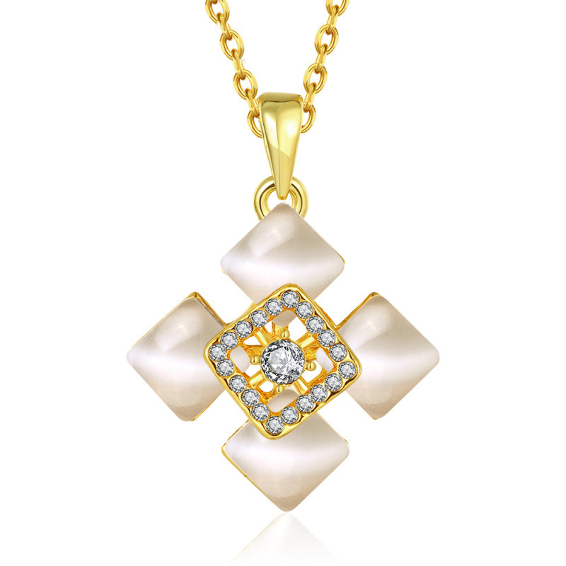 Crystal Square Pendants Necklaces Pandent Rhinestone Necklaces Women