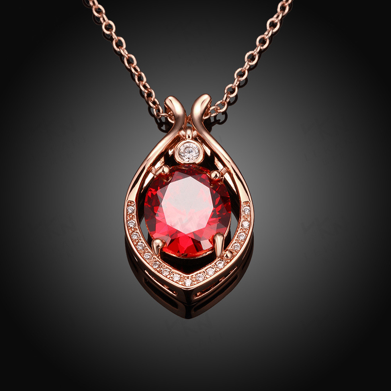Gold Plated Hollow Out Water Drop with Luxury Red/Blue Crystal Pendant Necklaces Women Jewelry KZCN0100