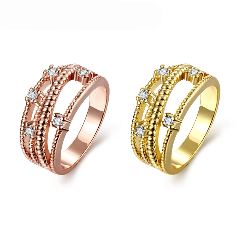 Gold Plated Rings For Women With Brilliant Cut CZ Diamonds Engagement Ring KZCR097
