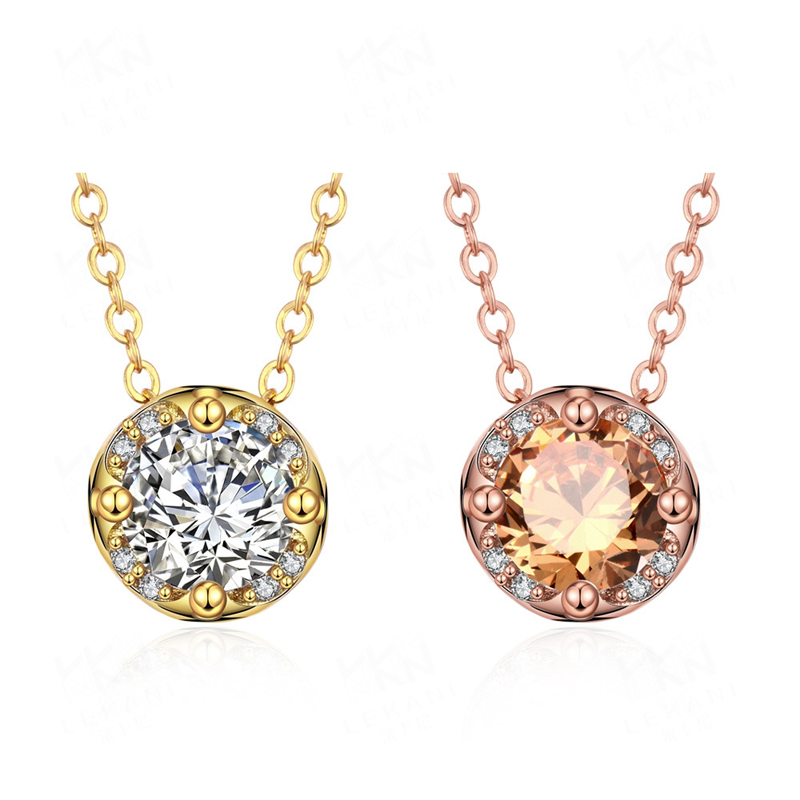 Gold plated Circular Pendant Necklace with AAA Zircon Jewelry Engagement Gift for Woman KZCN135