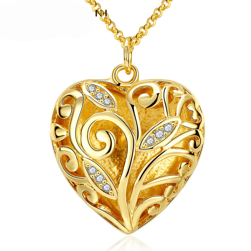 Zircon Charms Necklace Women Gold Heart Necklaces & Pendants AKN034