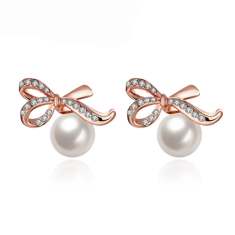 Pearl Bow Earrings For Women Rose Gold Plated AAA Cubic Zirconia Stud Earrings AKE037