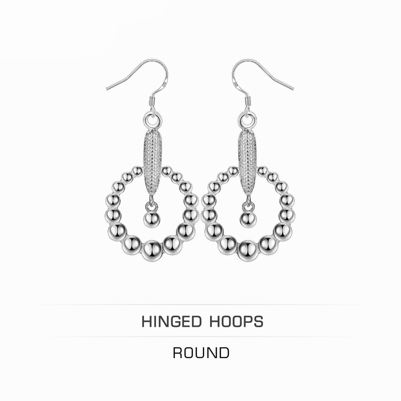 Round Hinged Hoops,Career 925 Sterling Silver Gift Accessories For Women Girls