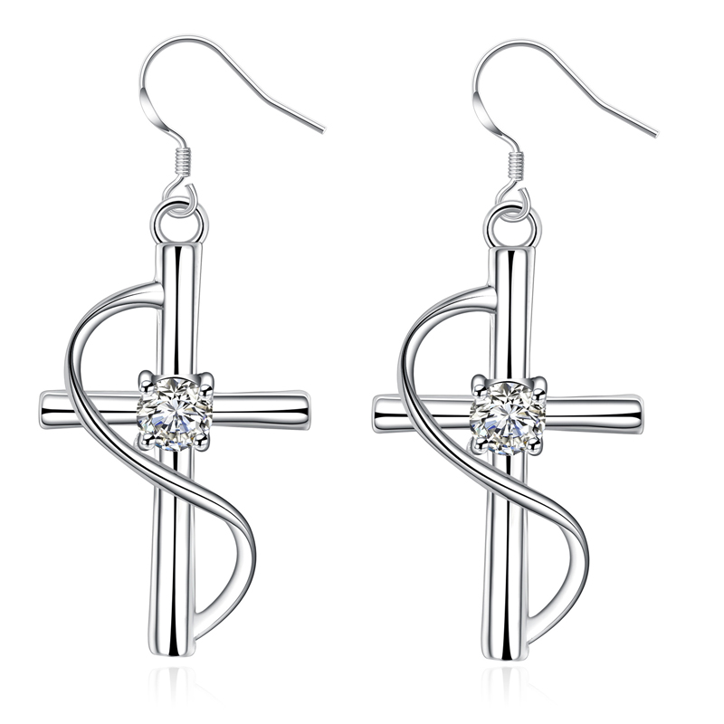 Fashion Cross Drop Earrings With CZ Stone For Women Charm Crystal Earrings E194