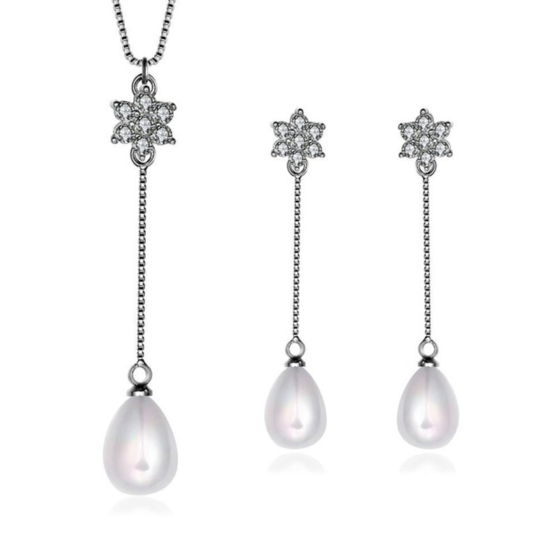 Fashion Design Women Pearl Jewelry Necklace+Earring Set