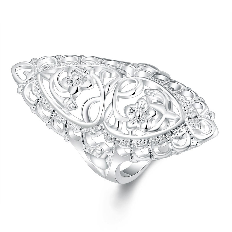 Carved Flower Ring Antique Ring Silver Plated Rings Jewelry
