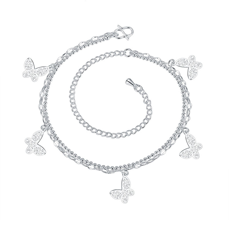 Silver Plated Chain with Multi Butterflies Anklet Bracelet for Women