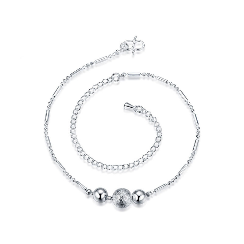 Simple Silver Gold Plated Metal Bead Anklet Fashion Foot Bracelets For Women Leg Chain