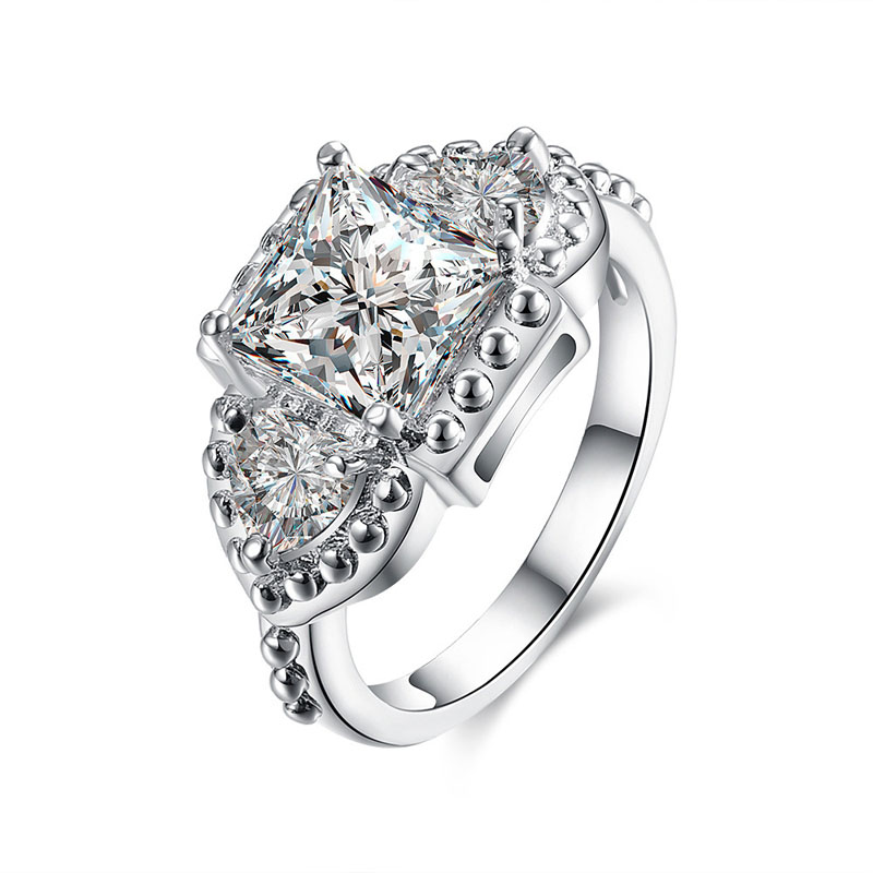 Sliver Plated Ring with Crystal Zircon Women's Rings