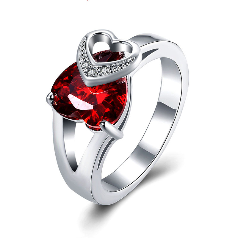 Sliver Plated Ring Double Hearts Crossed with Red And Crystal Zircon Best Jewelry Gift for Lovers