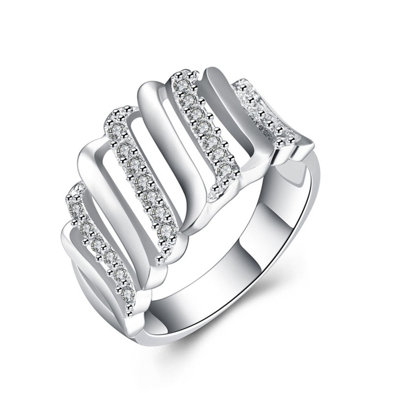 Silver Plated Hollow Out Rings With AAA+ Zircon Rings For Women