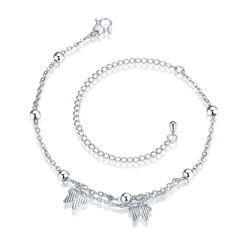 Silver Plated Double Butterfly Anklet Bracelets For Women Simple Ankle Bracelet Foot Chain